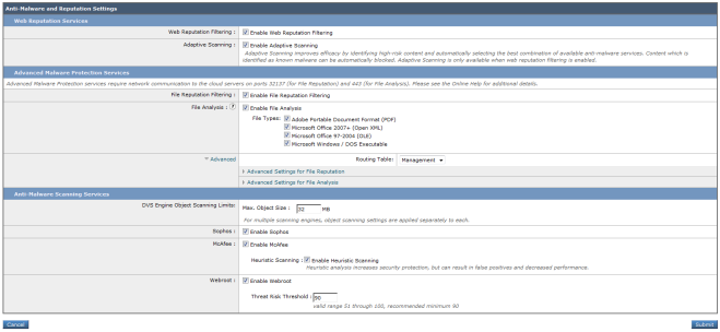 Screenshot of (part of) one screen from the Cisco WSA, showing a confusing variety of 'anti-malware' options.