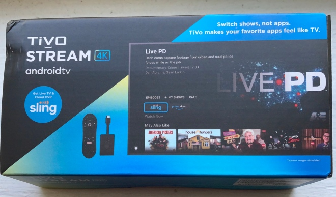 Picture of the Tivo Stream 4K package.
